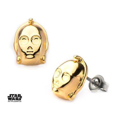 STAR WARS C3PO 3D GOLD PLATED STUD EARRINGS