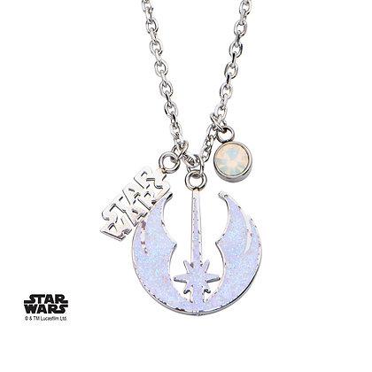 STAR WARS WOMEN'S STAINLESS STEEL STAR JEDI SYMBOL GLITTER PENDANT