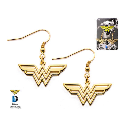 DC WONDER WOMAN CLASSIC STYLE GOLD PLATED DANGLE EARRINGS