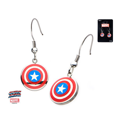 MARVEL CAPTAIN AMERICA SHIELD LOGO DANGLE EARRINGS