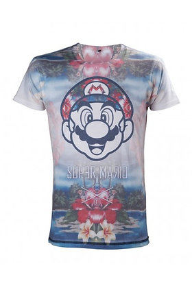 NINTENDO - SUPER MARIO BROTHERS TROPICAL PRINT T-SHIRT