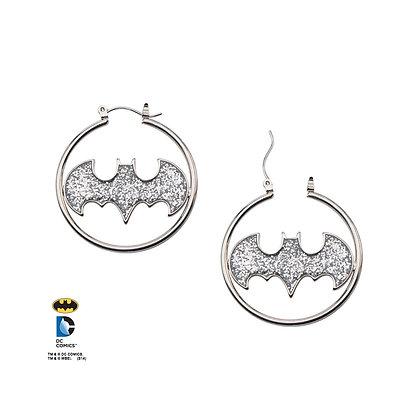 DC BATMAN SILVER LOGO CUT GLITTER EARRINGS
