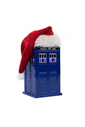 DOCTOR WHO LIGHT UP TARDIS ORNAMENT WITH SANTA HAT