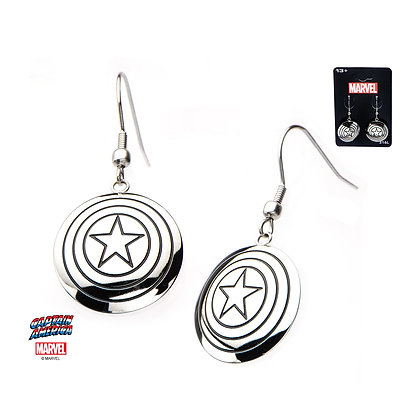 MARVEL SILVER CAPTAIN AMERICA SHIELD LOGO DANGLE EARRINGS