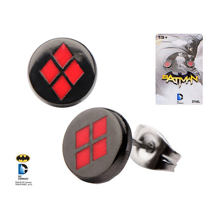 DC BATMAN HARLEY QUINN ENAMEL STUD EARRINGS