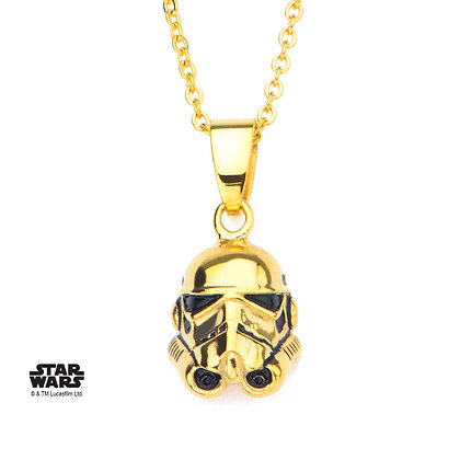 STAR WARS - 3D GOLD PLATED STORMTROOPER PENDANT NECKLACE