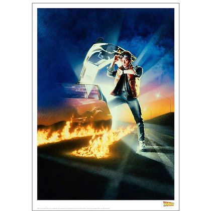 BACK TO THE FUTURE MARTY & DELOREAN ART PRINT