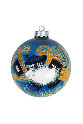 DOCTOR WHO XL STARRY NITE INSIDE PAINTED GLASS CHRISTMAS BAUBLE ORNAMENT