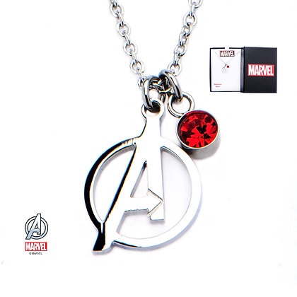 MARVEL AVENGERS A LOGO NECKLACE WITH RED GEM