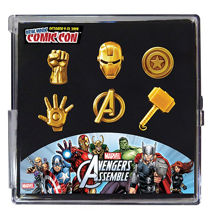 MARVEL GOLD PLATED LAPEL PIN SET NEW YORK COMIC CON LIMITED EDT 3000