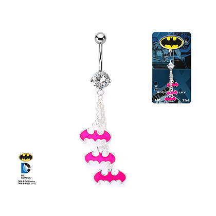 DC BATMAN PINK DANGLE BAT LOGO NAVEL BAR