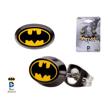 DC BATMAN CLASSIC OVAL LOGO ENAMEL STUD EARRINGS