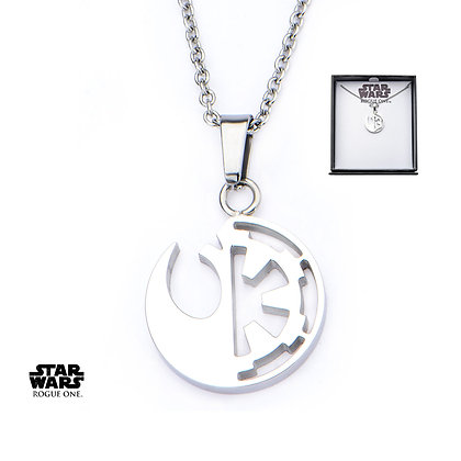 STAR WARS - ROGUE ONE REBEL ALLIANCE AND GALACTIC EMPIRE SYMBOL PENDANT NECKLACE