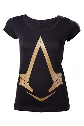 ASSASSIN'S CREED SYNDICATE FEMALE GOLD LOGO T-SHIRT