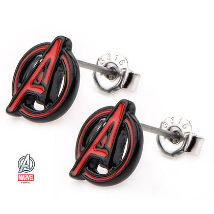 MARVEL AVENGERS A LOGO CUT ENAMEL STUD EARRINGS