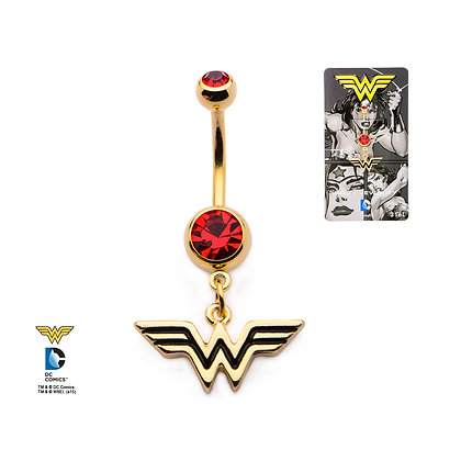 DC WONDER WOMAN GOLD PLATED NAVEL BAR WITH RED GEM