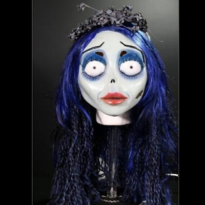 CORPSE BRIDE DELUXE EMILY FULL HEAD MASK WITH VEIL, HAIR & EYE LASHES