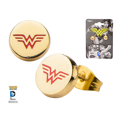 DC WONDER WOMAN CLASSIC GOLD PLATED STUD EARRINGS