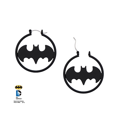 DC Batman LOGO MATTE BLACK CUT HOOP EARRINGS