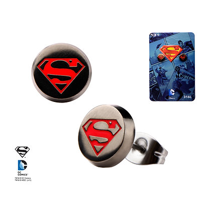 DC - SUPERMAN LOGO ENAMEL STUD EARRINGS