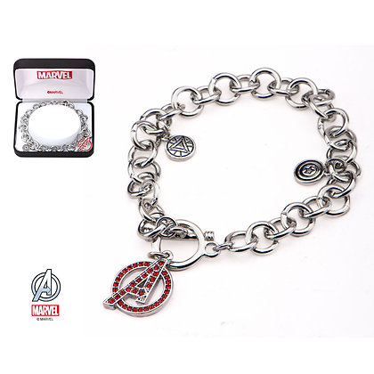 MARVEL AVENGERS A LOGO CHARM BRACELET WITH RED CUBIC ZIRCONIA GEMS