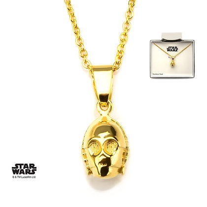 STAR WARS C3PO 3D GOLD PLATED STUD EARRINGS