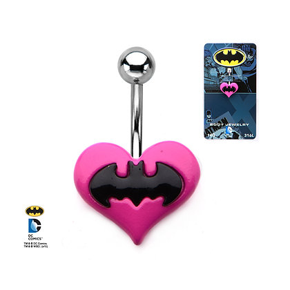 DC BATMAN NAVEL BAR WITH PINK BATMAN HEART