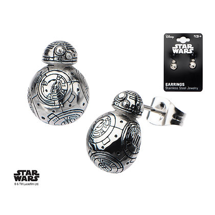 STAR WARS THE FORCE AWAKENS BB-8 DROID 3D CAST STAINLESS STEEL STUD EARRINGS