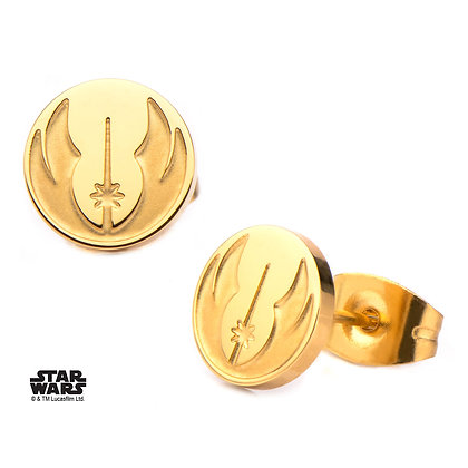 STAR WARS JEDI SYMBOL GOLD PLATED STUD EARRINGS