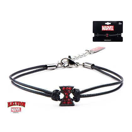 MARVEL STAINLESS STEEL BLACK WIDOW LOGO CORD BRACELET