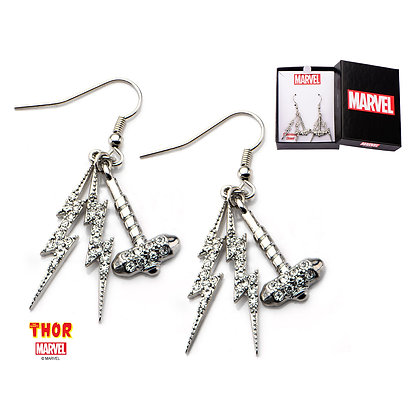 THOR HAMMER AND LIGHTNING DANGLE EARRINGS WITH CUBIC ZIRCONIA GEMS