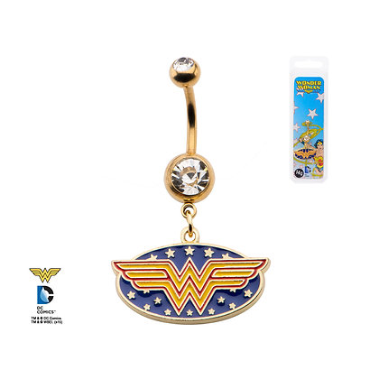 DC WONDER WOMAN GOLD PLATED NAVEL BAR WITH WHITE GEM