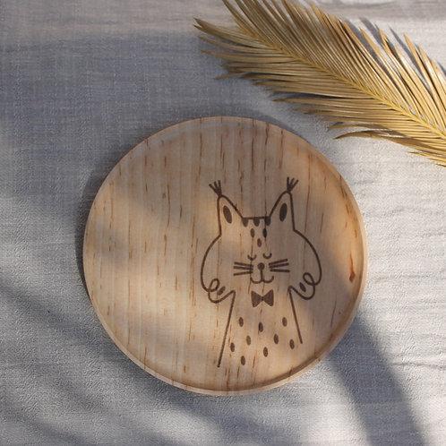 Plato madera redondo Lince Ibérico