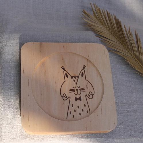 Plato de madera cuadrado Lince Ibérico