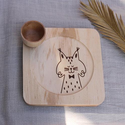 Plato de madera con cuenco Lince Ibérico