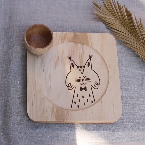 Wooden Plate & Bowl Set - Iberian Lynx