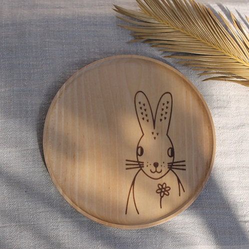 Round Wooden Plate -  Piornal Broom Hare