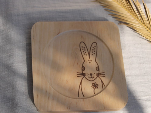 Square Wooden Plate -  Piornal Broom Hare