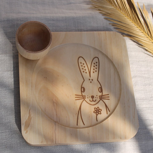 Wooden Plate & Bowl Set -  Piornal Broom Hare