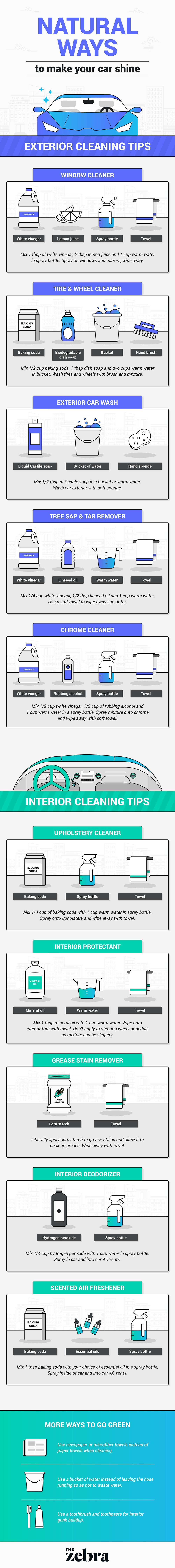 Green Cleaning Your Car Infographic from The Ze
