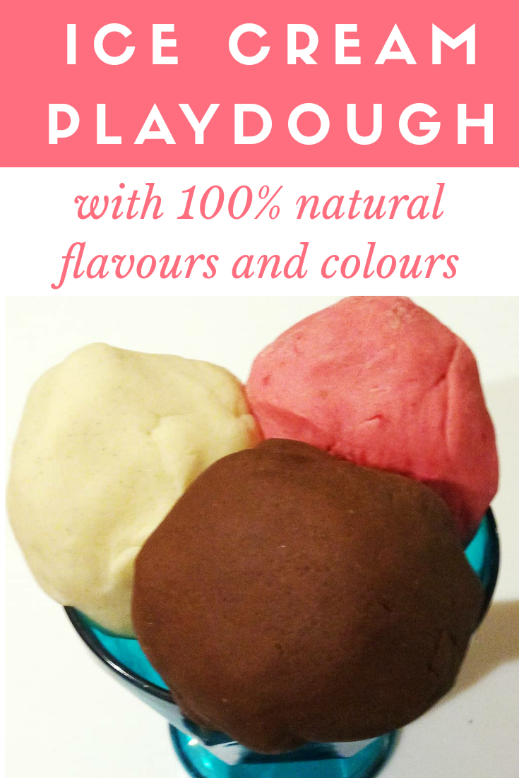 DIY Natural Ice-cream Flavoured Playdough | Make your own yummy scented playdough in three gorgeous ice-cream flavours, without any artificial colours or flavours. Use cocoa, vanilla and real strawberries for safe and natural sensory play.