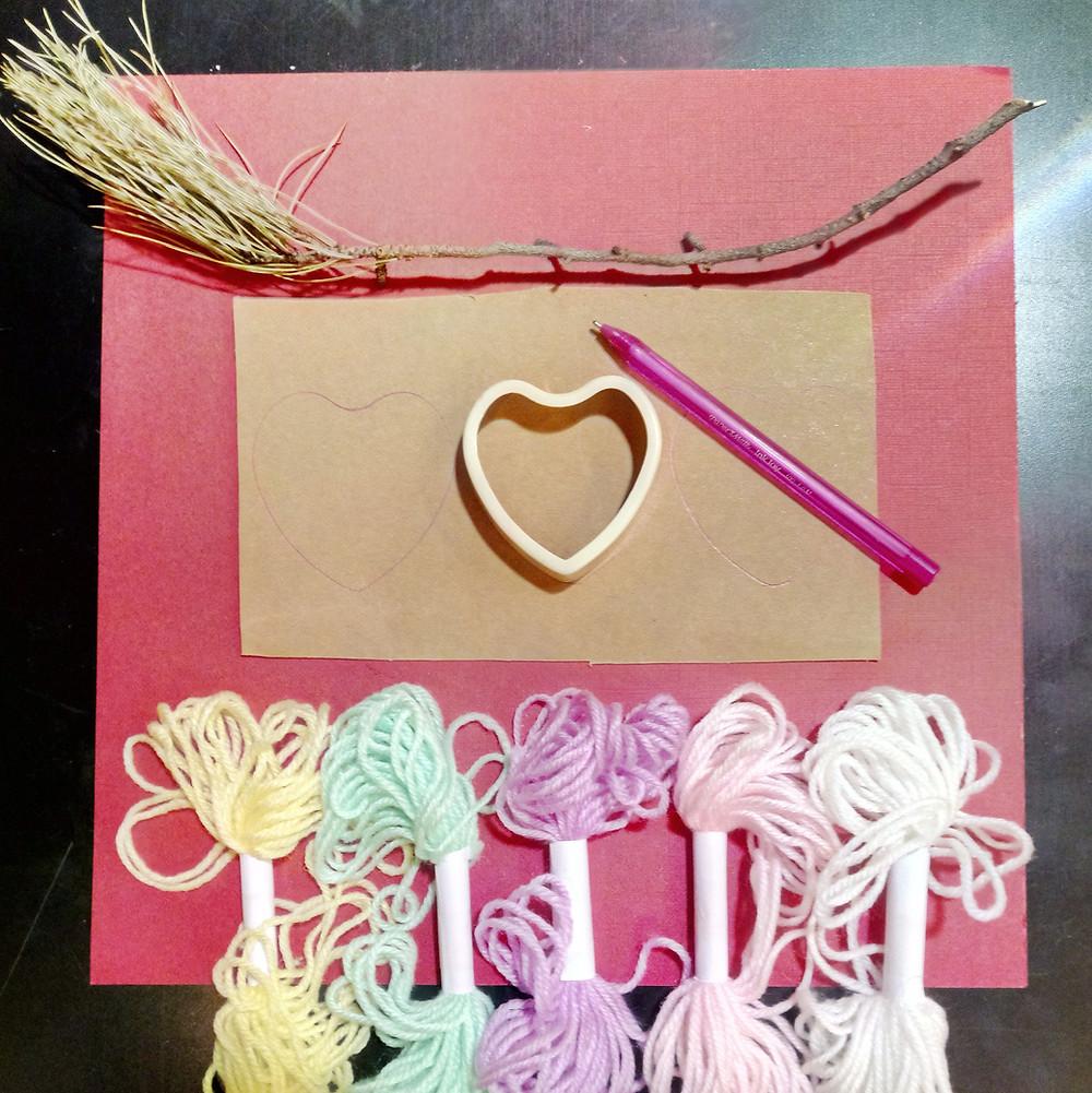 materials for yarn love heart