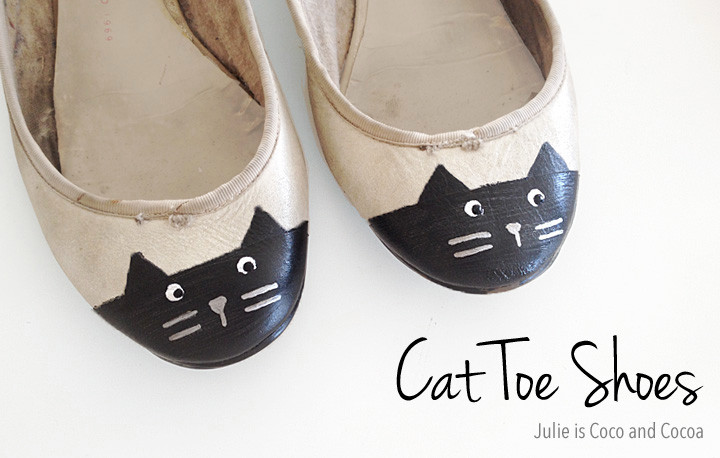 Cat Toe Shoes to cover scuffs - Image from http://juliemeasures.com/diy-cat-toe-shoes/