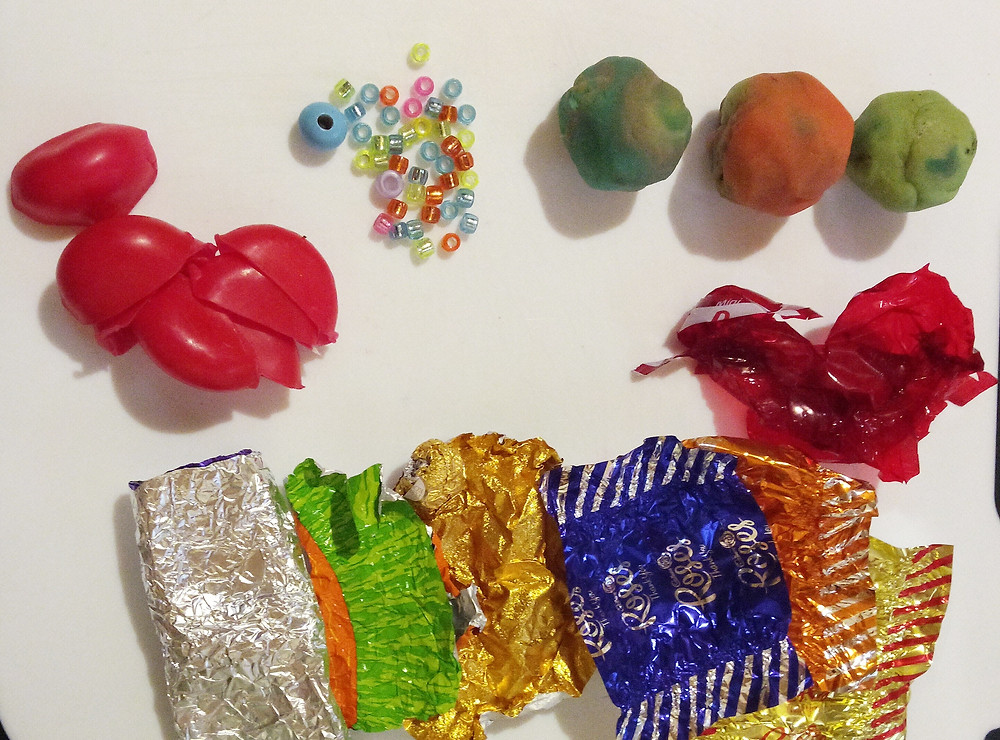 foil, cheese wax and playdough are fun ecofriendly decorations