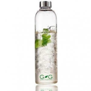 Reusable glass water bottle