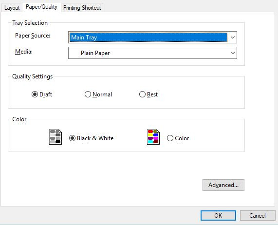 Choose ecofriendly Printer defaults by setting to Draft Black and White