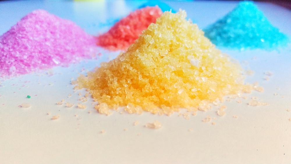 Make Glitter at home from Epsom Salts and Food Colour