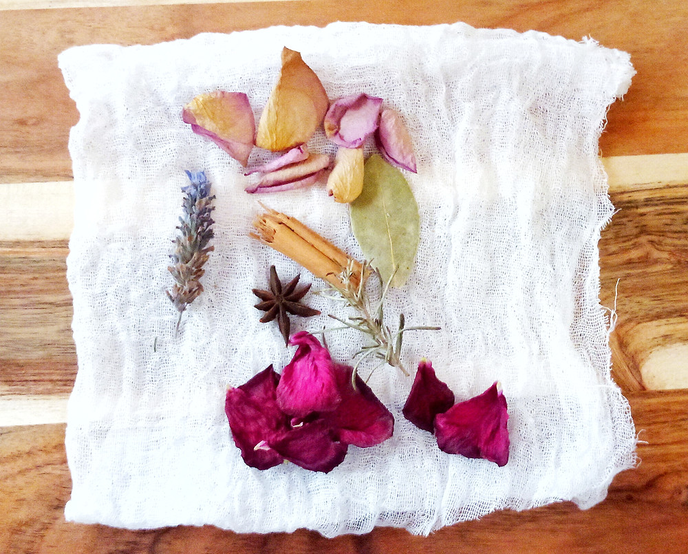 Set out your ingredients on muslin or cheesecloth
