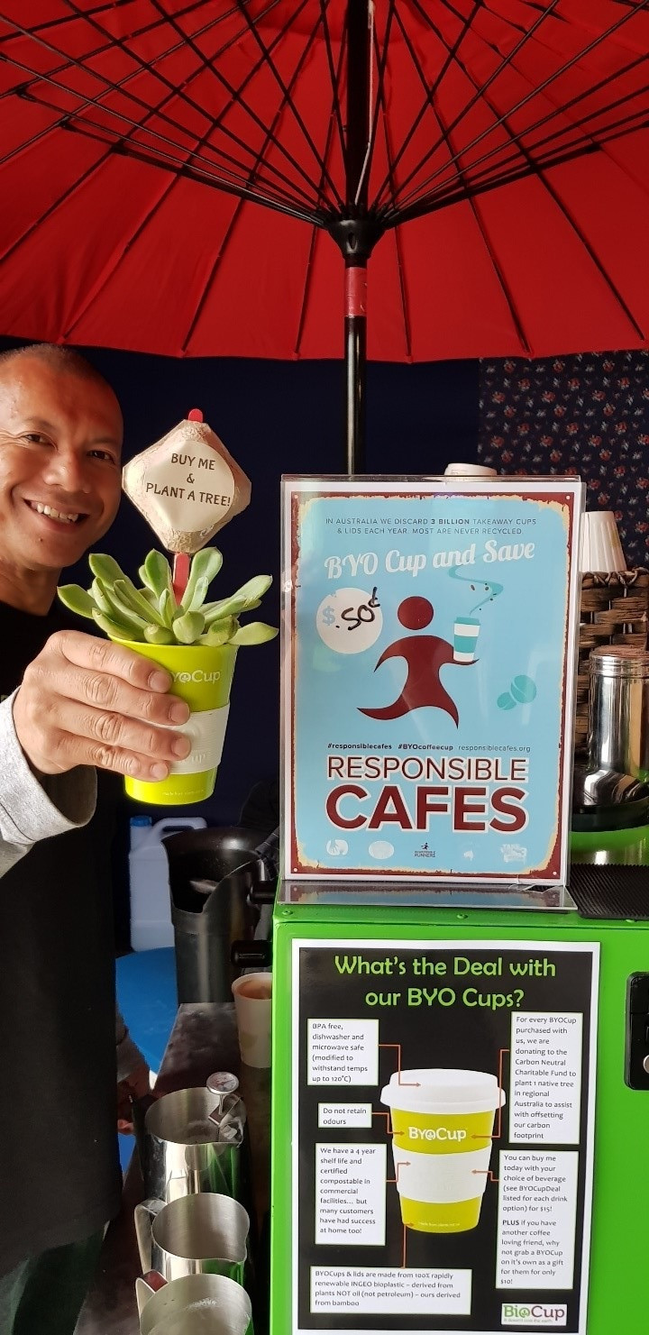 Biodegradable BYO Cups at the Mean Green Coffee Machine