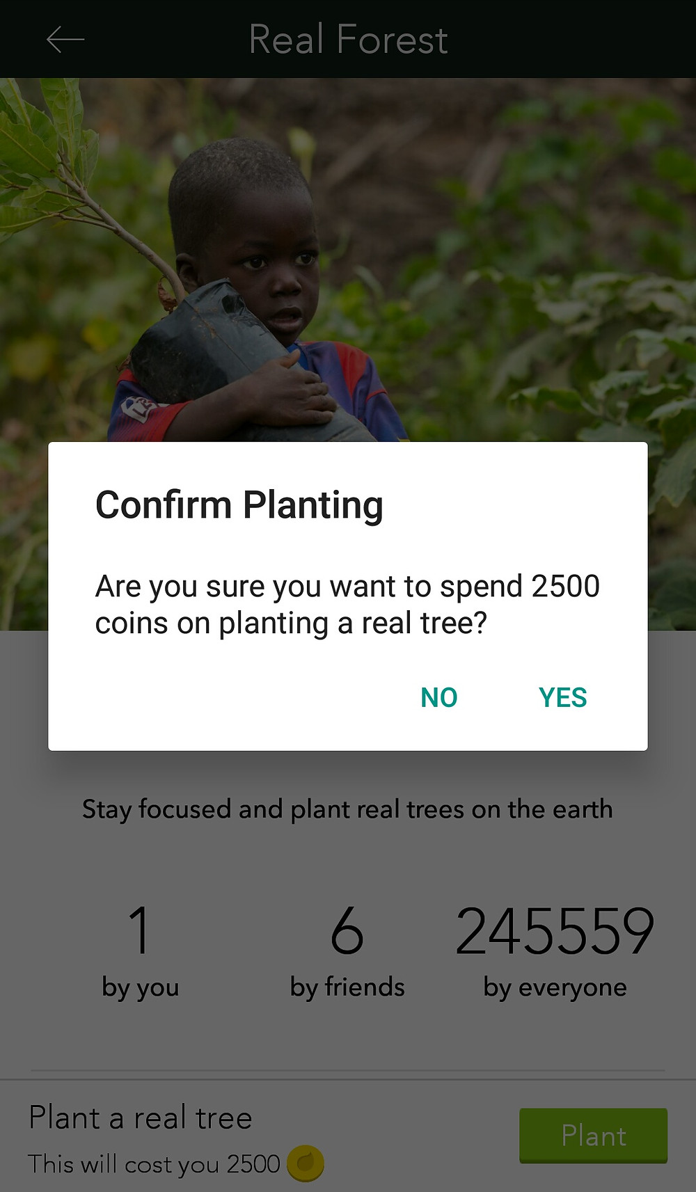 Planting a tree by not using your phone